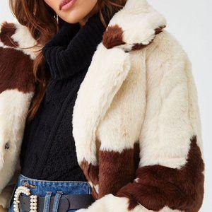 Cow Print Fur Jacket